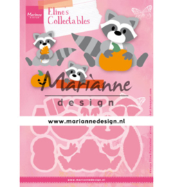 COL1472 - Eline's Raccoon 18 pcs, full size raccoon is 70 x 85 mm