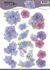 3D Knipvel - Jeanines Art - Purple Flowers  CD11092