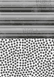 NEVA020 background sheets A4 black flowers