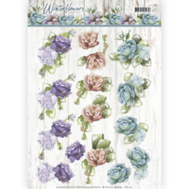 3D knipvel - Precious Marieke - Winter Flowers - Roses  CD11191
