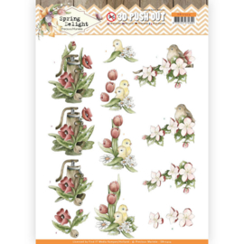 3D Pushout - Precious Marieke - Spring Delight - Red Flowers   SB10424