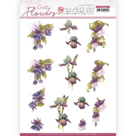 3D Push Out - Precious Marieke - Pretty Flowers - Purple Flowers  SB10498