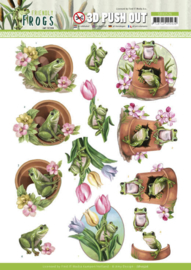 3D Push Out - Amy Design - Friendly Frogs - Flower Frogs SB10526