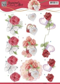 3D knipvel Jeanine's Art - Roses and Hearts   CD10981