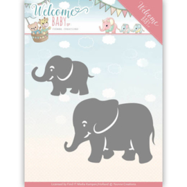 Dies - Yvonne Creations - Welcome Baby - Little Elephants   YCD10138
