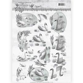 3D knipvel - Amy Design - Words of Sympathy - Sympathy Swans   CD11181