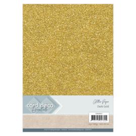 Card Deco Essentials Glitter Paper Dark Gold 1x   CDEGP017