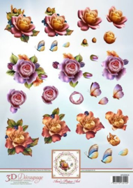 3D Decoupage Sheet Autumn Roses APA3D014
