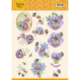 3D knipvel - Jeanines Art - Buzzing Bees - Purple Flowers   CD11337