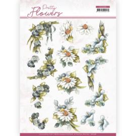 3D cutting sheet - Precious Marieke - Pretty Flowers - Blue Flowers  CD11581