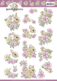 3D Cutting Sheet - Yvonne Creations - Pink flowers and Animals  CD11599