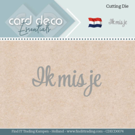 Card Deco Essentials - Dies - Ik mis je  CDECD0074