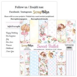 ScrapBoys Sweet Ballet paperpad 12 vl+cut out elements-DZ SWBA-10 190gr 20,3x20,3cm