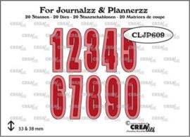 Crealies Journalzz & Pl Stansen Cijfers met schaduw CLJP609 height 33 - 38mm