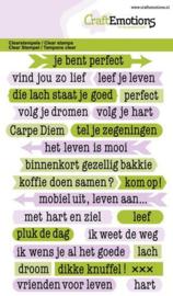 CraftEmotions clearstamps A6 - tekst typewriter spiritueel (NL) 1320