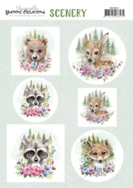 Scenery Push out  - Yvonne Creations Aquarella - forest animals  CDS10013