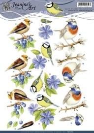 CD10700 3D Knipvel - Jeanines Art - Blauwe vogeltjes
