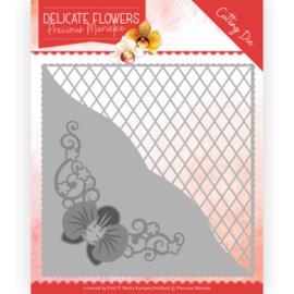 Dies - Precious Marieke Delicate Flowers - Delicate Square  PM10176  Formaat ca. 12,5 x 12,5 cm