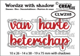 Crealies Wordzz with Shadow van Harte beterschap (NL) CLWZ03 19x75mm