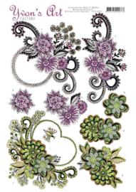 3D knipvel - Yvon's Art Factory - Flower swirls   CD11009