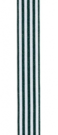 Lint gestreept donker groen/wit 9MM / per meter
