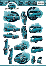 3D Cutting Sheet - Yvonne Creations - Cars in Blue CD11453