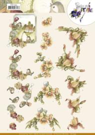 3D Cutting Sheet - Precious Marieke - Flowers in soft orange  CD11535