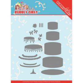 Dies - Yvonne Creations - Bubbly Girls Party - Birthday Cake YCD10202 Formaat ca. 11 x 10,5 cm