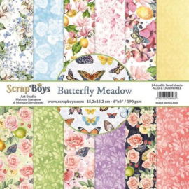 ScrapBoys Butterfly Meadow paperpad 24 vl+cut out elements-DZ BUME-09 190gr 15,2 x 15,2cm