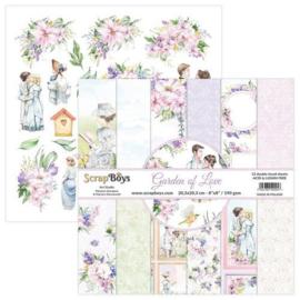 ScrapBoys Garden of love paperpad 12 vl+cut out elements-DZ GALO-10 190gr 20,3x20,3cm