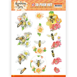 3D Push Out - Jeanine's Art - Humming Bees - Bee Queen  SB10559