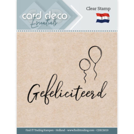 Card Deco Essentials - Clear Stamps - Gefeliciteerd  CDECS019