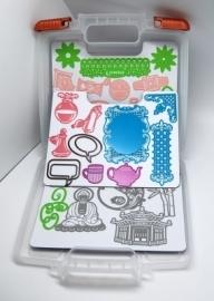 6200/0070 Storage Case opbergbox voor stencils incl. 3st magnetische vellen (1,3 mm)(met roze sluiting)