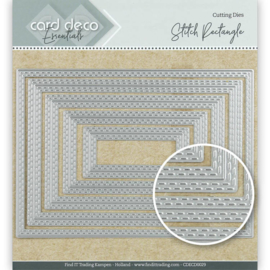 Card Deco Essentials Cutting Dies Stitch Rectangle  CDECD0029 ca. 10 x 14 cm (5-delig)