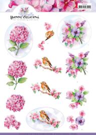 3D knipvel - Yvonne Creations - Violets   CD11362