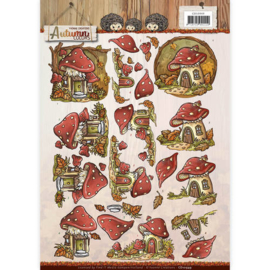 3D Knipvel - Yvonne Creations - Autumn Colors - Mushrooms Houses  CD10949