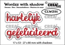 Crealies Wordzz with Shadow Hartelijk gefeliciteerd (NL) CLWZ01 22x85 mm