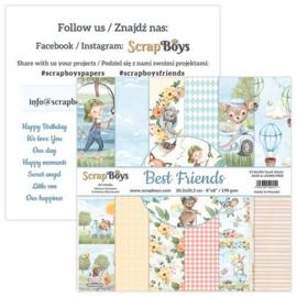 ScrapBoys Best Friends paperpad 12 vl+cut out elements-DZ BEFR-10 190gr 20,3x20,3cm