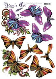 3D Knipvel - Yvon's Art - Butterflies    CD11303