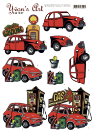 3D Knipvel - Yvon's Art - Red Cars  CD11342