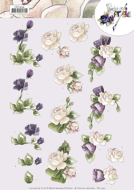 3D cutting sheet - Precious Marieke - Purple Flowers CD11494