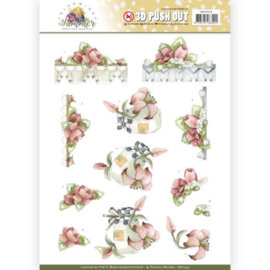 3D Pushout - Precious Marieke - Blooming Summer - Red Summer Flowers  SB10354