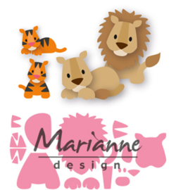 COL1455 - Marianne Design Collectable Eline's lion/tiger  14 pcs; 100 x 75 mm