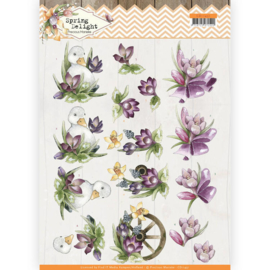 3D cutting sheet - Precious Marieke - Spring Delight - Purple Crocus  CD11431