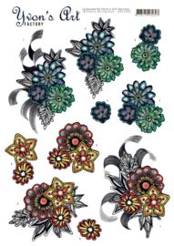 3D Knipvel - Yvon's Art - Fantasy Flower Blue   CD11309