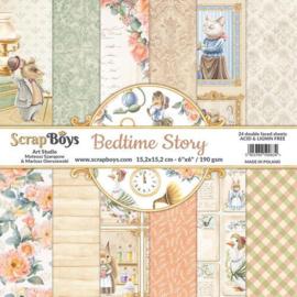 ScrapBoys Bedtime story paperpad 24 vl+cut out elements-DZ BEST-09 190gr 15,2x15,2cm
