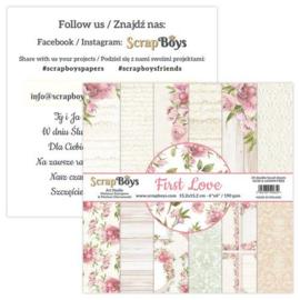 ScrapBoys First Love paperpad 24 vl+cut out elements-DZ FILO-09 190gr 15,2x15,2cm