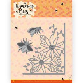Dies - Jeanine's Art - Humming Bees - Flower Corner  JAD10129   Formaat ca. 8 x 8,7 cm