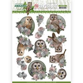 3D Push Out - Amy Design - Amazing Owls - Romantic Owls  SB10489