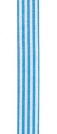 Lint gestreept lichtblauw/wit 9MM / per meter